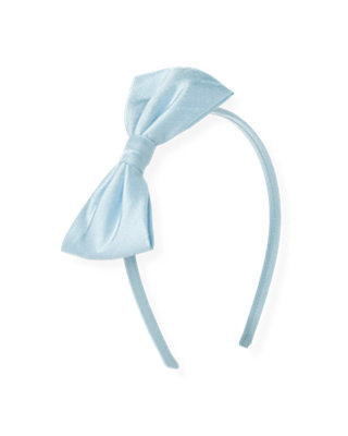 Pale Blue Silk Bow Headband at JanieandJack