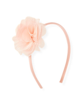 Rose Pink Organza Rosette Headband at JanieandJack