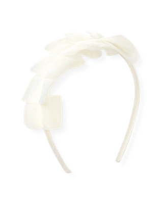 Jet Ivory Pleated Tulle Headband at JanieandJack