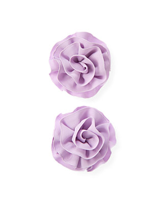 Purple Petunia Grosgrain Rosette Barrette Two-Pack at JanieandJack