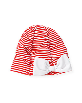 Cherry Red Stripe Stripe Ruched Swim Cap at JanieandJack