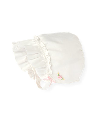 Baby Girl Jet Ivory Hand-Embroidered Rose Bonnet at JanieandJack