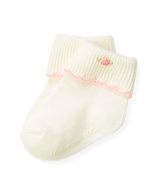 Baby Girl Jet Ivory Hand-Embroidered Rose Sock at JanieandJack