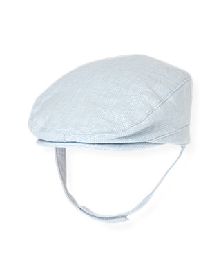 Baby Boy Pale Blue Houndstooth Linen Blend Cap at JanieandJack