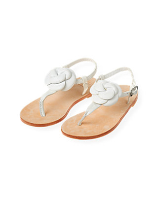 Pure White Flower Petal Leather Sandal at JanieandJack