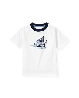 Boys Pure White Sailboat Ringer Tee at JanieandJack