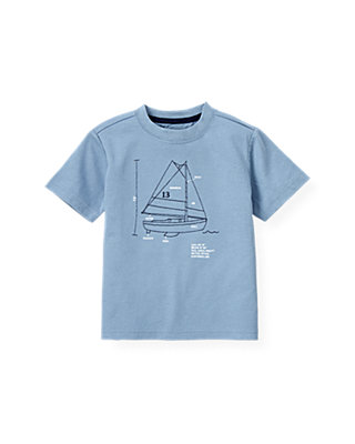 Boys Blue Sail Embroidered Sailboat Tee at JanieandJack