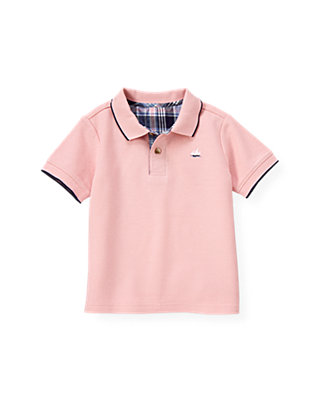 Boys Pink Coral Tipped Polo Shirt at JanieandJack