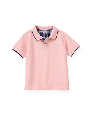 Boys Pink Coral Tipped Polo Shirt at JanieandJack