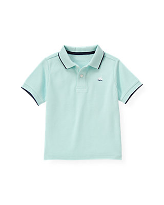 Boys Washed Aqua Tipped Polo Shirt at JanieandJack