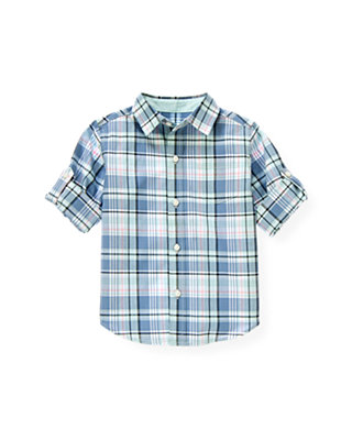Blue Sail Plaid Plaid Roll Cuff Shirt at JanieandJack