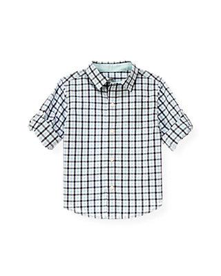 Washed Aqua Check Gingham Roll Cuff Shirt at JanieandJack