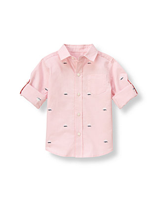 Pink Coral Check Sailboat Gingham Roll Cuff Shirt at JanieandJack