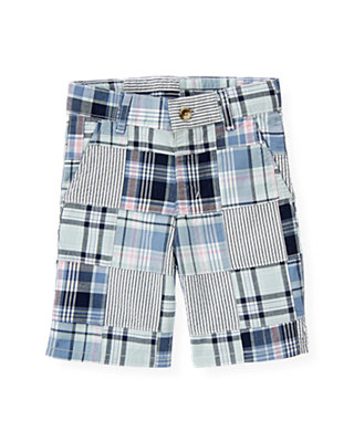Boys Blue Sail Patchwork Patchwork Plaid Short at JanieandJack