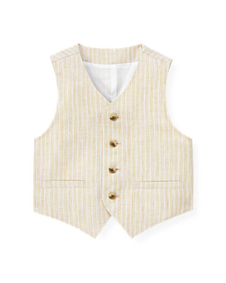 Classic Khaki Stripe Stripe Linen Suit Vest at JanieandJack