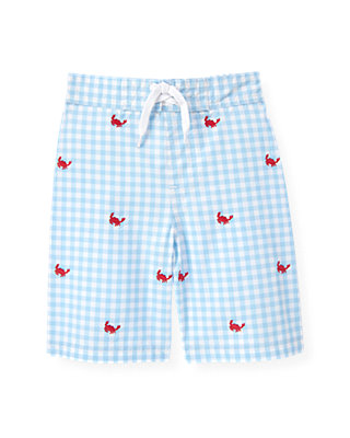 Nantucket Blue Check Crab Embroidered Gingham Swim Trunk at JanieandJack