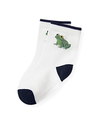 Boys Pure White Frog Sock at JanieandJack
