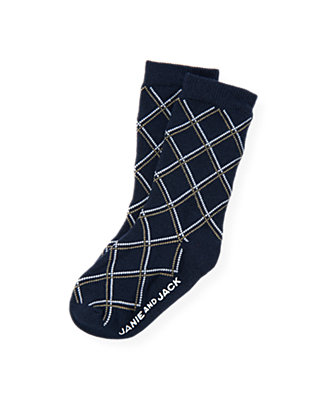 Boys Classic Navy Argyle Sock at JanieandJack