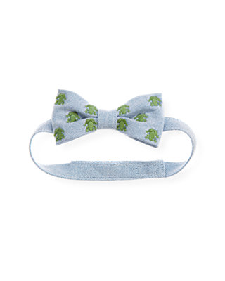 Boys Blue Oxford Frog Bowtie at JanieandJack