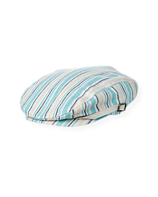 Boys Aqua Stripe Linen Blend Stripe Cap at JanieandJack
