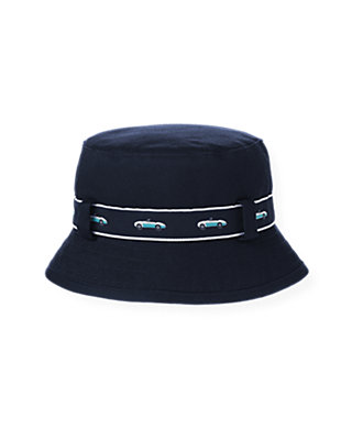 Boys Classic Navy Convertible Car Belted Bucket Hat at JanieandJack