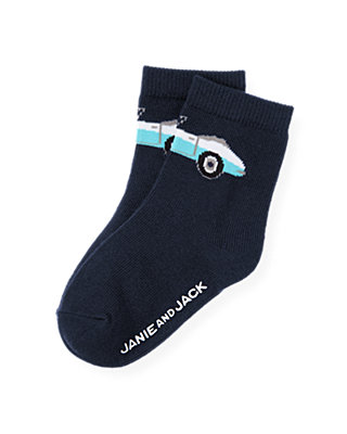 Boys Classic Navy Vintage Convertible Car Sock at JanieandJack
