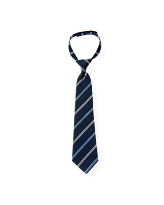 Boys Classic Navy Stripe Patterned Stripe Tie at JanieandJack