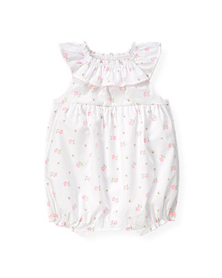 Baby Girl Barely Pink Floral Ruffle Floral Bubble at JanieandJack