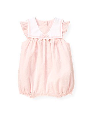 Baby Girl Barely Pink Dot Swiss Dot Sailor One-Piece at JanieandJack