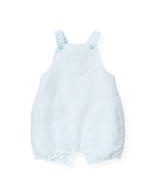 Baby Boy Illusion Blue Houndstooth Linen Blend Shortall at JanieandJack
