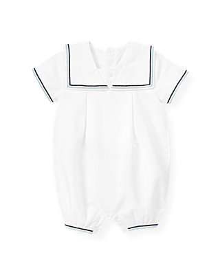 Baby Boy Pure White Linen Blend Sailor One-Piece at JanieandJack