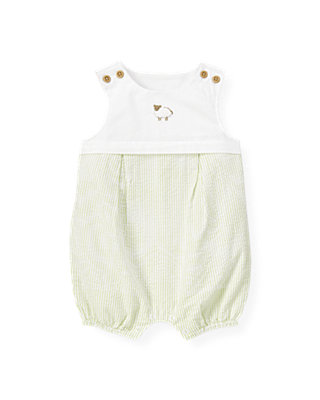 Pale Green Stripe Sheep Seersucker Stripe One-Piece at JanieandJack