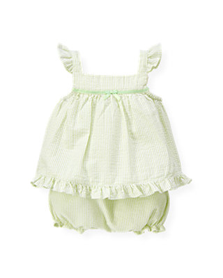 Pale Green Stripe Seersucker Stripe Two-Piece Ensemble at JanieandJack