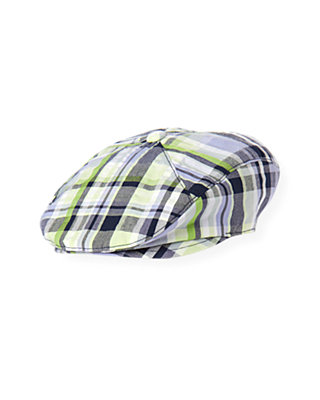 Boys Classic Navy Plaid Classic Navy Plaid Cap at JanieandJack
