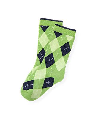 Boys Turtle Green Argyle Sock at JanieandJack