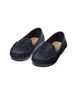 Classic Navy Leather Loafer at JanieandJack