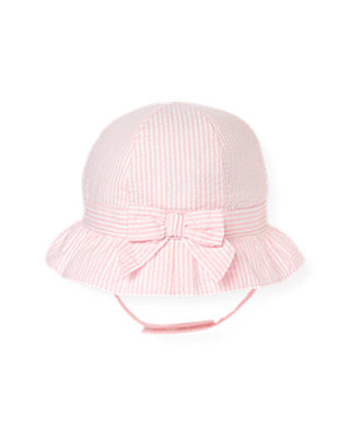 Baby Girl Barely Pink Stripe Bow Seersucker Stripe Hat at JanieandJack
