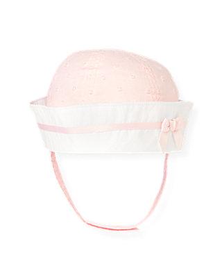 Baby Girl Barely Pink Dot Swiss Dot Sailor Hat at JanieandJack