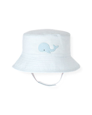 Baby Boy Illusion Blue Houndstooth Linen Blend Hat at JanieandJack