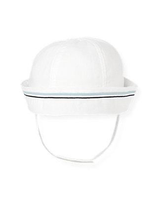 Baby Boy Pure White Linen Blend Sailor Hat at JanieandJack