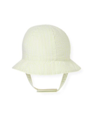 Pale Green Stripe Seersucker Stripe Hat at JanieandJack