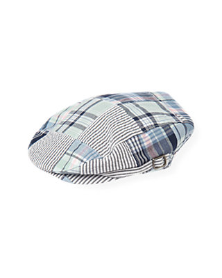 Boys Blue Sail Patchwork Patchwork Plaid Cap at JanieandJack