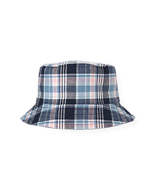 Boys Blue Sail Plaid Reversible Plaid Bucket Hat at JanieandJack
