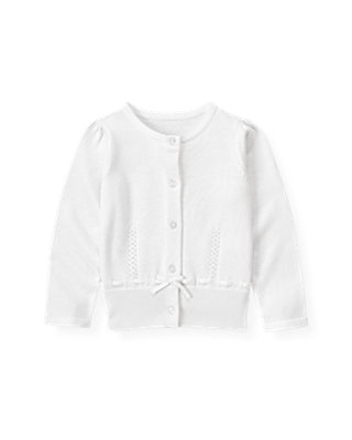 Pure White Pointelle Cardigan at JanieandJack