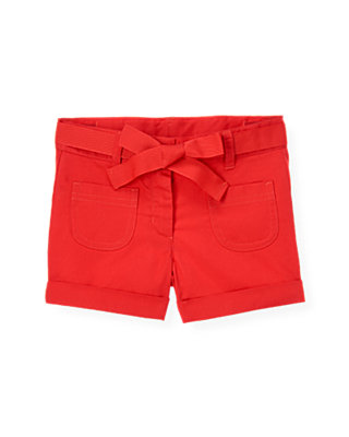 Poppy Red Belted Twill Short at JanieandJack