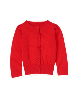 Poppy Red Pointelle Cardigan at JanieandJack