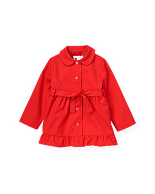 Poppy Red Ruffle Trench Coat at JanieandJack