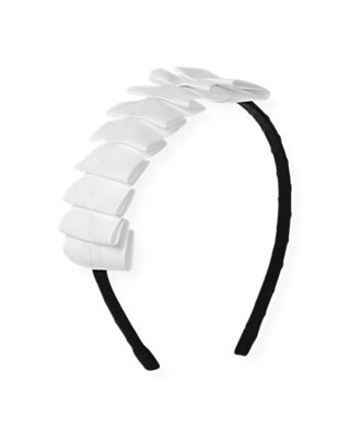 Pure White Pleated Grosgrain Ribbon Headband at JanieandJack