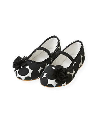 Classic Black Pleated Ribbon Dotted Shoe at JanieandJack