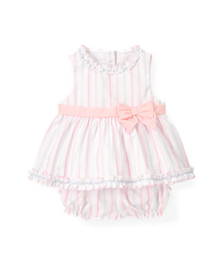 Baby Girl Pink Candy Stripe Dobby Stripe Ensemble at JanieandJack